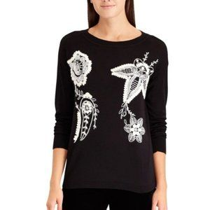 NWT Chaps Embroidered Black White Sweater
